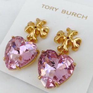 Tory Burch-large crystal heart earrings Ro…